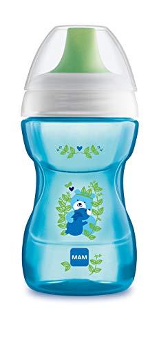 MAM Fun to Drink Trinkbecher 270 ml, Schnabelbecher für den Übergang zum Glas, Trinklernbecher mit ergonomischer Form, 8+ Monate, blau