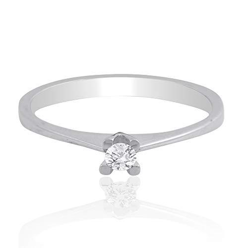 Spectrum Jewels - Anillo de diamantes de 0,10 quilates, oro blanco de 18 quilates, joyería fina para niñas y mujeres
