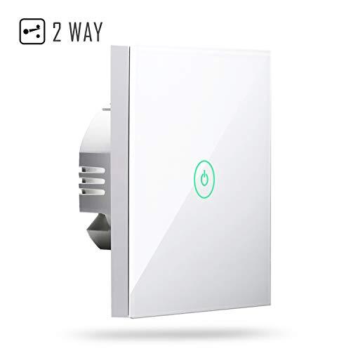 Interruptor Táctil de Pared Wi-Fi 2 Vías, 1 Canal, con Pantalla Táctil, Pulsador de Cristal. Compatible con Alexa, Asistente de Google y SmartThings. meross MSS550L (Se Requiere un Cable Neutral)
