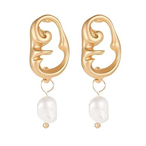 DOUHEN Pendientes de perlas de moda para mujer, pendientes de perlas de imitación, pendientes de temperamento, Aluminio,