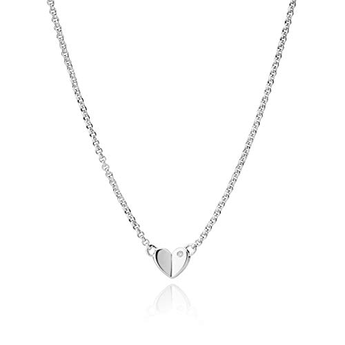 Molly B London Sterling Silver Necklace for Teenage Girl's with First Diamond Heart - Perfect Birthday Gift