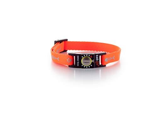 cat-life Halsband für Katzen Sicherheitshalsband Katzenhalsband mit Sicherheitsverschluss individuell einstellbar (Fish & paw orange Reflecting, über 4 kg Verschluss gelb)