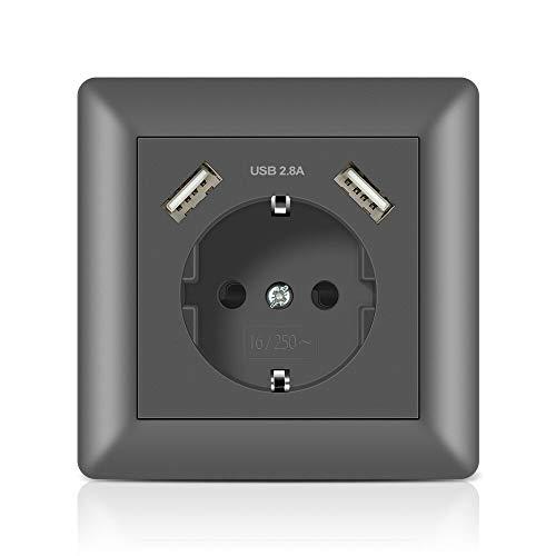Schuko Steckdose mit 2 USB Anschluss 2.8A Grau, Kaifire Wandsteckdose System 55 unterputz - Ladegerät für Smartphone Tablet MP3