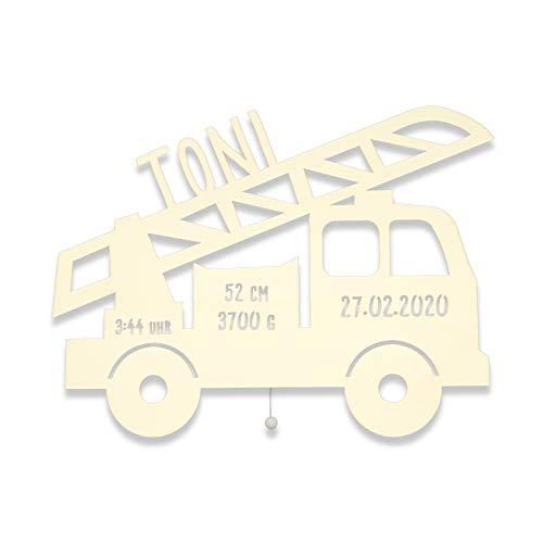 Nachtlicht Lampe Lars das Löschfahrzeug Feuerwehr-auto Kinderzimmer-Lampe/Tauf-Geschenk/zur Geburt/Personalisiert mit Wunsch-Name für Mädchen/Jungen Schlummerleuchte Babyzimmer [Energieklasse A++]
