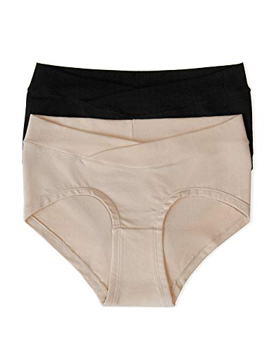 Kindred Bravely Bamboo Maternity Hipster Panties   2 Pack Maternity Underwear Under the Bump (Small/Medium, Neutrals)