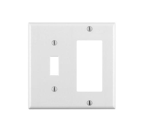 Leviton 80405-W 2-Gang 1-Toggle 1-Decora/GFCI Device Combination Wallplate, Standard Size, Thermoset, Device Mount, White