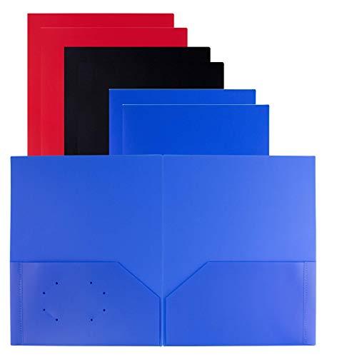 Dunwell Two Pocket Plastic Folder - (6 Pack, Black Blue Red), Heavy Duty Plastic File Folder 2 Pockets, Include Labels, Letter Size Plastic Folders with Pockets, Multi Pocket Folder No Prongs