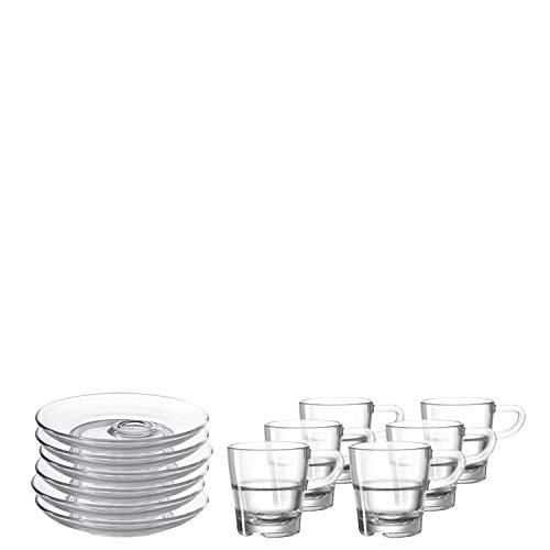 Leonardo Senso Espresso-Tassen und Unterteller, spülmaschinengeeignete Espresso-Gläser mit Untertassen, 12er Set, 70 ml, 032829