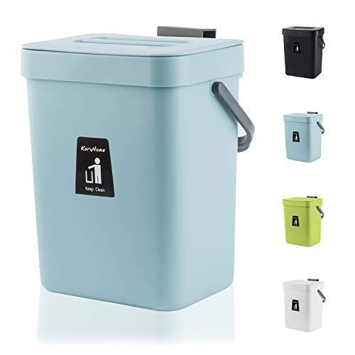 KaryHome Kleiner Abfalleimer zum Aufhängen mit Deckel unter der Spüle für Küche, Lebensmittelabfälle, Komposteimer für Arbeitsplatte, blau