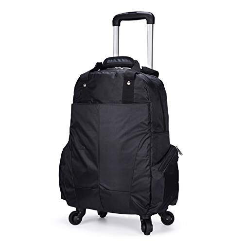 BCXS Rucksack with Wheels for Travelling, Wheeled Backpack with Removable Daypack, 20 Inches Waterproof Wheeled Rolling Backpack for Girls And Boys,Black