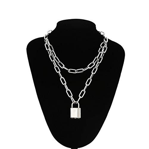 Collar de Cadena de Bloqueo con Colgantes de candado para Mujeres, Hombres, joyería Punk, Accesorios estéticos Grunge