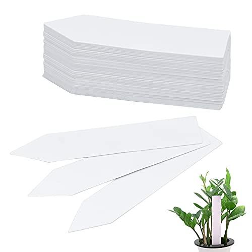 100 Piezas de Marcadores de Etiquetas de Plantas, Etiquetas Semilleros de Jardín de Impermeable, Mark de Plantas Reutilizable de Blanco para Semillas Hierbas Flores Vegetales (10 x 2 Cm)