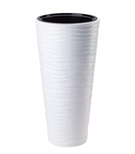 Form Plastic Blumentopf Blumenkübel inkl Einsatz Weiss Struktur gewellt H 78,5 cm Sahara