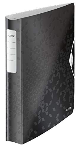 Leitz Qualitäts-Ordner 180° Active WOW, A4, Schwarz, 52 mm Rückenbreite Gummibandverschluss, 4 D-Ring Mechanik, Leichtes Polyfoam, WOW, 42400095