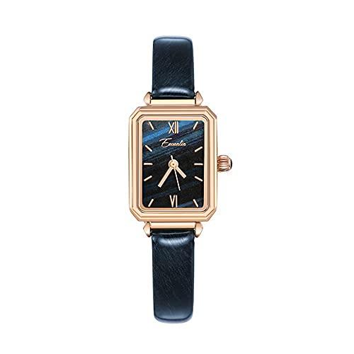 YIXINHUI Reloj de Cuarzo Reloj Impermeable de Las señoras cuadradas de Temperamento Simple, Reloj de Cuarzo Casual de la Moda de la Textura Verde de la malaquita (Color : D)