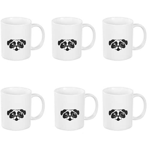 BricoLoco. Lote de 6 tazas de cara carlino. Tazas originales y graciosa para el desayuno. Tazas infantiles para niño y niña.