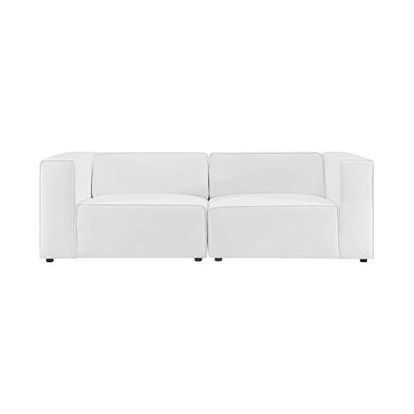 Ergode Mingle Vegan Leather 2-Piece White Sectional Sofa 2
