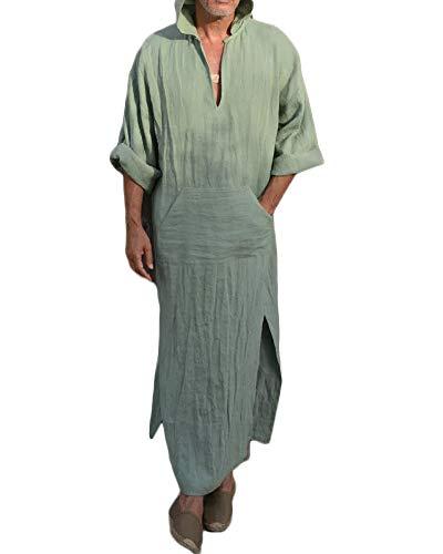 Fueri Herren Leinen Kapuzen-Bademantel Ethic Kaftan Thobe Saudi Arabische Kleider Muslim Dishdash Sommer lange Shirts Gr. L, A-grün