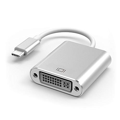 SAIENTEE USB C to DVI Adapter, USB Type-C to DVI Adapter [Thunderbolt 3 Compatible] for MacBook Pro 2018/2017, MacBook Air/iPad Pro 2018, Samsung Galaxy S10/S9, Surface Book 2 and More – Grey