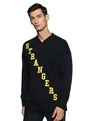 Forever 21 Men's Synthetic Sweater (268043_Black/Yellow_Medium)