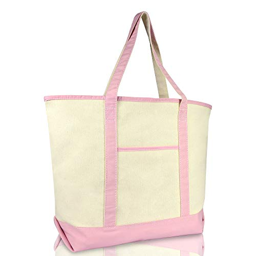 DALIX 22' Extra Large Shopping Tote Bag w Outer Pocket in Pink and Natural