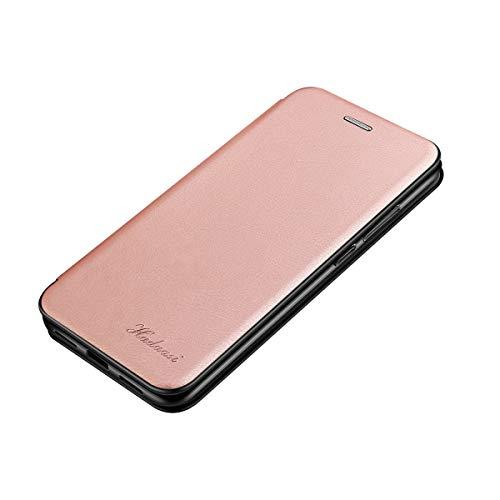 Suhctup Coque Compatible pour Samsung Galaxy A20/A30 [Intérieur Microfibre] Magnétique Clip Portable Antichoc silicone Bumper Housse,Mince Rabat Fentes pour Cartes avec Stand Pliant Kickstand(Or rose)