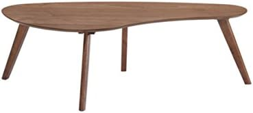 Best Emerald Home Simplicity Walnut Brown Coffee Table with Curved, Tear Drop Shaped Top And Round, Slant
