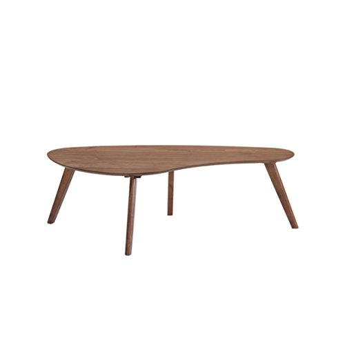Emerald Home Simplicity Walnut Brown Coffee Table with Curved, Tear Drop Shaped Top And Round, Slanted Legs