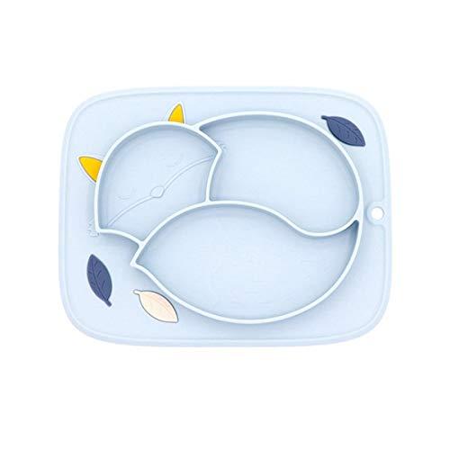 Tangger Platos de Cena de Silicona para Niños con Secciones,Plato de Silicona para Bebés Antideslizante con Succión Sin BPA,Blue Fox