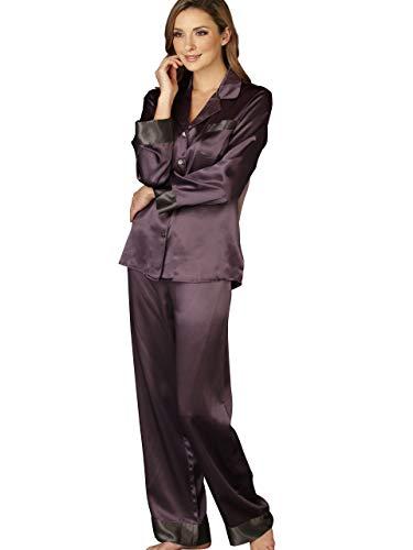 Julianna Rae Women's 100% Silk Pajama, Classic Fit, Evening Lounge Collection, Aubergine, XS