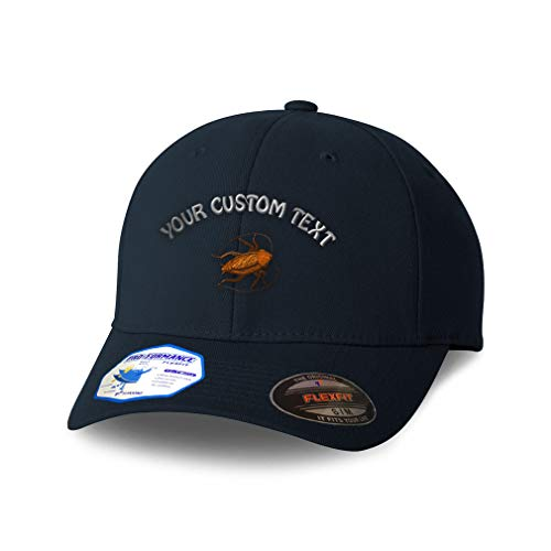 Custom Flexfit Hats for Men & Women Animal Wildlife Bug Insect Cockroach Polyester Dad Baseball Cap Dark Navy Personalized Text Here Large XLarge