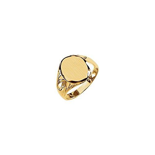 JewelryWeb Herren-Siegelring 14 Karat Gelbgold 13,25 x 10,7 mm Größe V 1/2