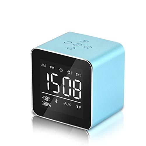 QKa Wecker, Drahtloser Bluetooth-Lautsprecher, 2 Sätze Wecker, 10 Stunden Spielzeit, Mini-Metall-Subwoofer Für iPhone X / 6S / 7/7 Plus/Ipad, Indoor-Outdoor Usw,02