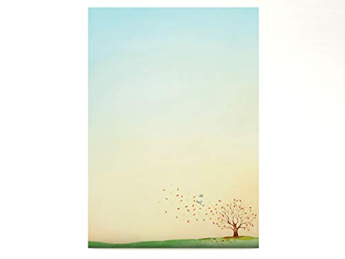 Briefpapier | Herbst-Aquarell | 20 Blatt Herbstliches Motivpapier DIN A4