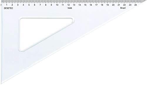Esquadro Escaleno 60° de 26 cm com Escala, Trident, 1626, Acrílico Cristal, Incolor