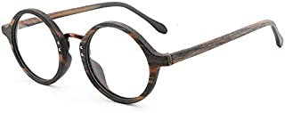 SGJFZD Men and Women Round Frame Wood Frame Glasses Retro Plate Glasses Frame Fashion Hand-Made Flat Light (Color : Pattern Brown)