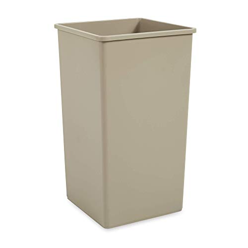 Rubbermaid Commercial Products 50-Gallon Untouchable Square Trash/Garbage Can for Offices/Stores/Restaurants, Beige (FG395900BEIG)