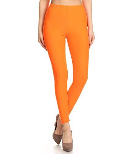 FUNGO Leggings Damen Lang Capri Bunte Leggins Yoga Damen Sporthose (36, Orange)