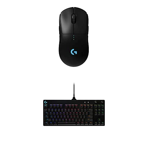 Logitech G Pro Wireless Gaming Mouse & G PRO Mechanical Gaming Keyboard, Ultra Portable Tenkeyless Design, Detachable Micro USB Cable, 16.8 Million Color LIGHTSYNC RGB Backlit Keys