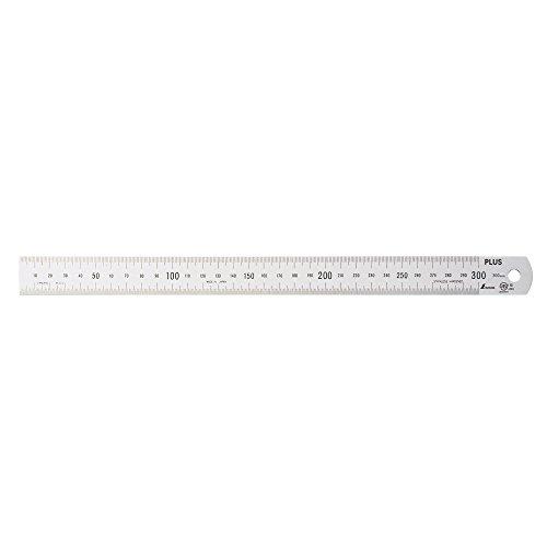 プラス ステンレス直尺 シルバー 【目盛りの長さ30cm×厚さ1mm】 47-742