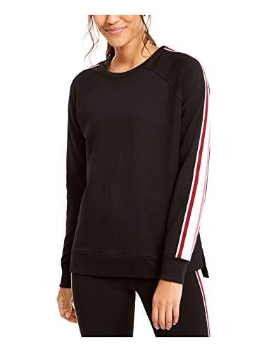 Ideology Varsity-Stripe - Sudadera de rizo francés (talla L), color negro
