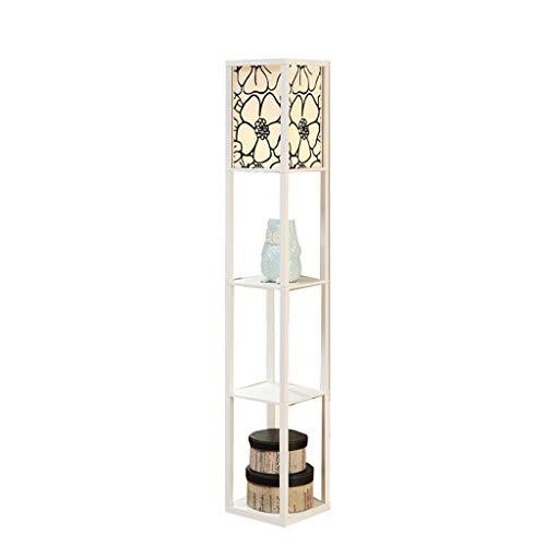 Lampadaire en tissu en bois blanc avec éclairage intérieur blanc moderne de 1,6 m avec unités de rayonnage intégrées pour la chambre et le salon (Color : B)