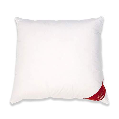 Traumschloss Daunen Kopfkissen Exclusiv | Doppelkammerkissen | Gänsedaunen | Bezug aus 100% Baumwolle | Weiß | 80 x 80 cm