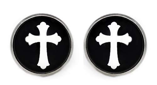 Pendientes unisex para hombre con símbolo de cruz, acero inoxidable, cabujón, redondo, 12 mm, para mujer, madre, hermana, bisutería en negro, blanco y plateado.