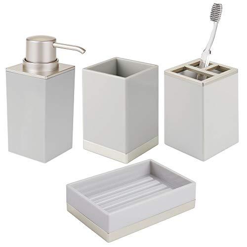 mDesign Juego de 4 Accesorios para el baño – Porta cepillos de Dientes, dosificador de jabón, jabonera de baño y Vaso de diseño Elegante – Fabricados en plástico Resistente – Gris Claro/Plateado Mate