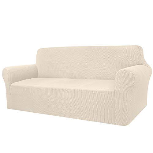 Granbest - Funda de sofá de Alta Elasticidad, diseño Moderno, Jacquard, para el salón, para Perros y Mascotas (3 plazas, Beige)