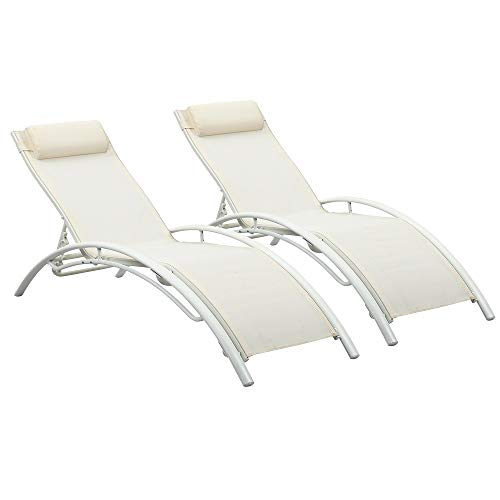 Adjustable Chaise Lounge Chairs Outdoor with Pillow, Set of 2, White, Aluminum, Zero Gravity