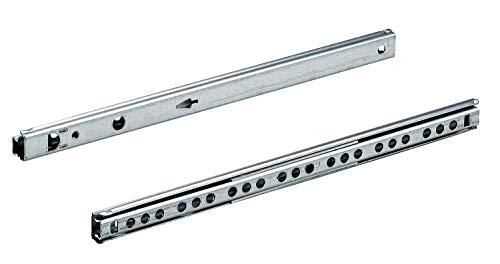 Hettich 9220237 KA 1730/410-Guías de precisión para cajones (incluye tornillos, carga máxima de 10 kg, 1 par), Galvanizado