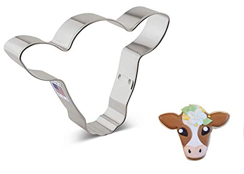 Ann Clark Cookie Cutters Cute Cow/Steer Face Cookie Cutter, 4.5'