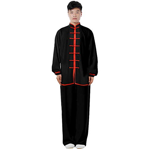 ZooBoo Cotton Blend Long Sleeves Tai Chi Suit Morning Exercise Uniform Kung Fu Clothing for Men (Black+Red, XXL)